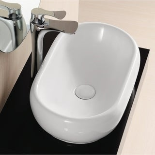 Caracalla CA4958 No-hole Oval White Ceramic Vessel Bathroom Sink