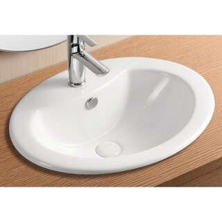 Caracalla CA902-One Hole Oval White Ceramic Self riming Bathroom Sink