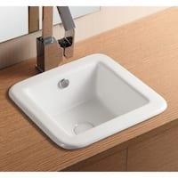 Caracalla CA4980-No Hole Square White Ceramic Self riming Bathroom Sink