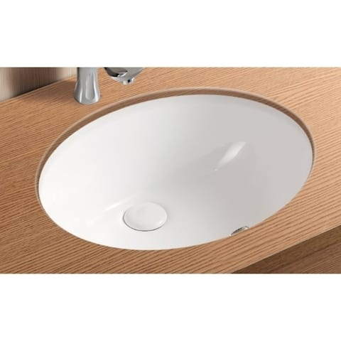 Caracalla CA908-18-No Hole Oval White Ceramic Undermount Bathroom Sink