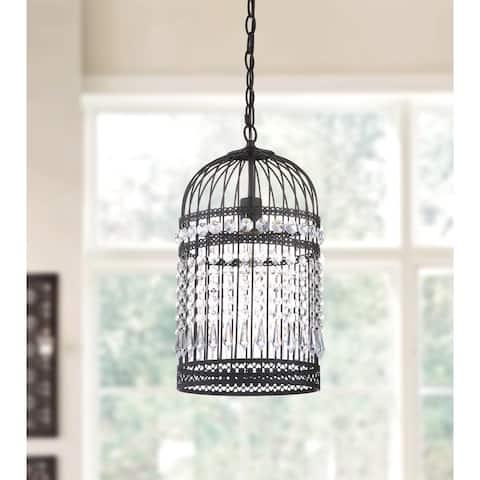 "Safavieh Lighting Ellison Adjustable Edison Bulb Black Bird Cage Pendant - 10""x10""x18-90"""