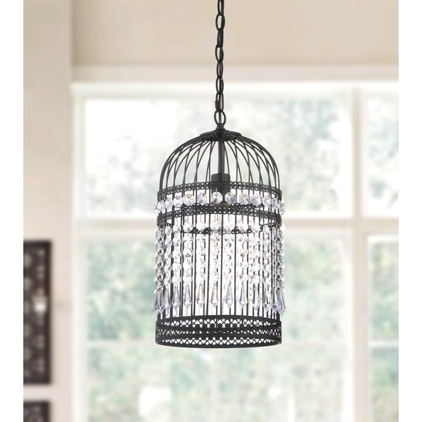 Safavieh Lighting Ellison Black Bird Cage Adjustable Pendant