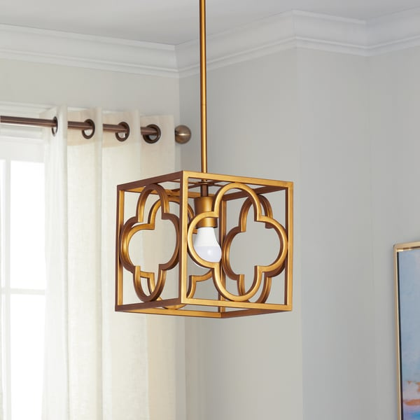 Safavieh Lighting Rabia Gold Quatrefoil Trellis Adjustable Pendant