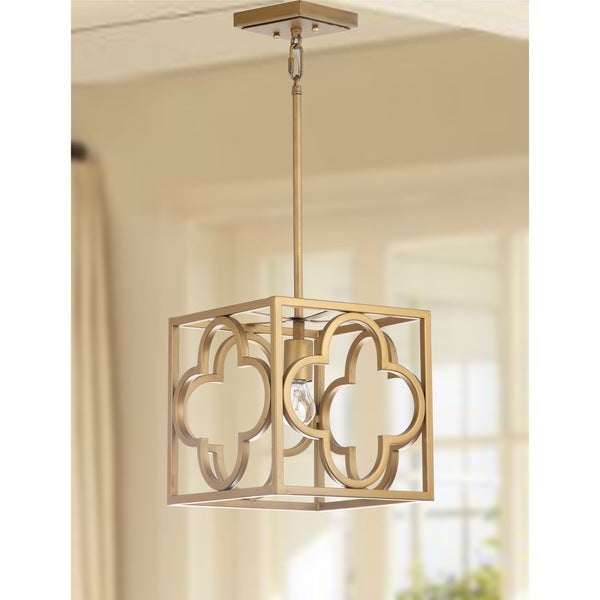 Safavieh Lighting Rabia Gold Quatrefoil Trellis Adjustable Pendant