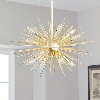 Safavieh Lighting Zadie Gold Retro Sunburst Adjustable Pendant