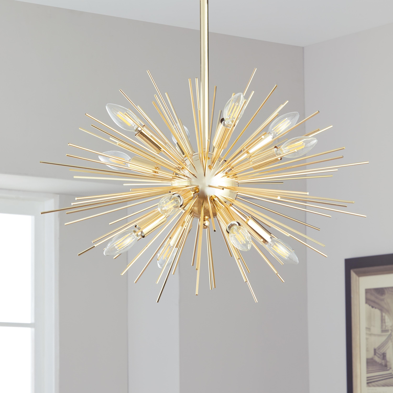Safavieh Lighting Za Gold Retro Sunburst Led 12 Light Adjule Pendant