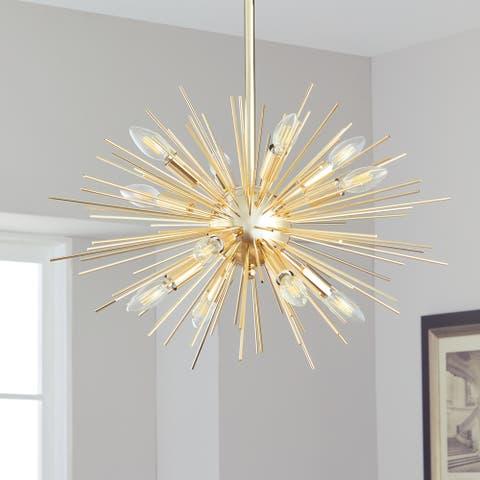 "Safavieh Lighting Zadie Gold Retro Sunburst LED 12-light Adjustable Pendant - 24.5""x24.5""x18-48"""