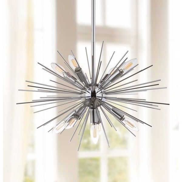 Safavieh Lighting Willa Silver Retro Sunburst Adjustable Pendant