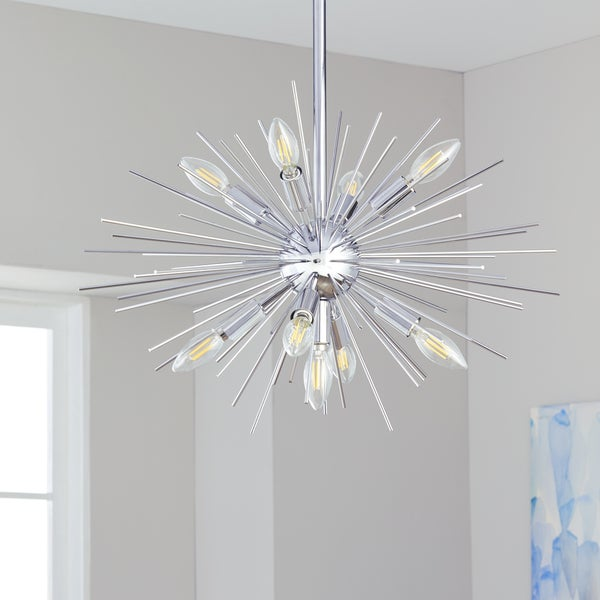 Safavieh Lighting Willa Silver Sunburst 9-light LED Adjustable Pendant