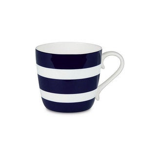 Konitz Set of 4 Assorted Polka Dots and Stripes Dark Blue Mugs