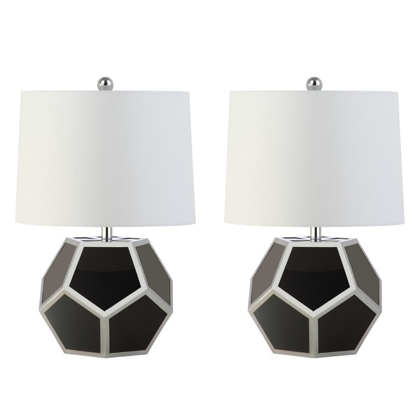 Safavieh Lighting 21-inch Lorcan Modern Geometric Black/ Silver Table Lamp (Set of 2)