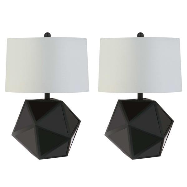 Safavieh Lighting 23-inch Brycin Modern Geometric Black Table Lamp (Set of 2)