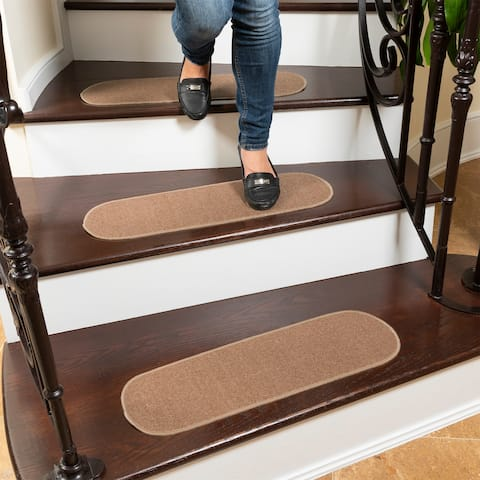 """Ottomanson Escalier Collection Non-Slip Pet-Friendly Stair Treads - 8.5"""" x 26"""" Oval (set of 7)"""