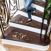 "Ottomanson Ottohome Collection Leaf Oval Stair Tread (Set of 7) (9""X26"") - 9 x 26"