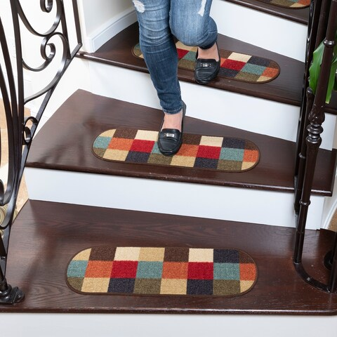 "Ottomanson Ottohome Collection Multicolor Checkered Oval Stair Tread (Set of 7) (8.5""X26"") - 8 Inch x 28 Inch"