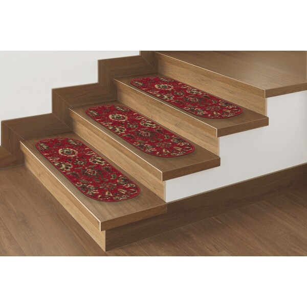 Ottomanson Ottohome Collection Red Floral Oval Stair Tread - 8 Inch x 28 Inch