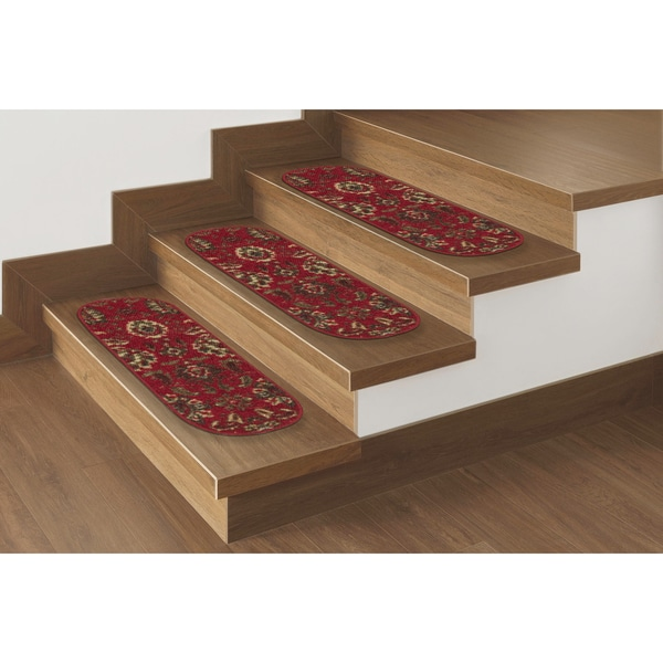 "Ottomanson Ottohome Collection Red Floral Oval Stair Tread (Set of 7) (8.5""X26"") - 8 Inch x 28 Inch"