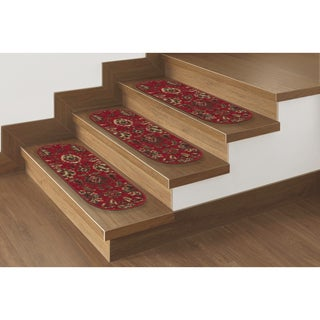 "Ottomanson Ottohome Collection Red Floral Oval Stair Tread (Set of 7) - 8.5"" x 26"" Oval (Set of 7)"