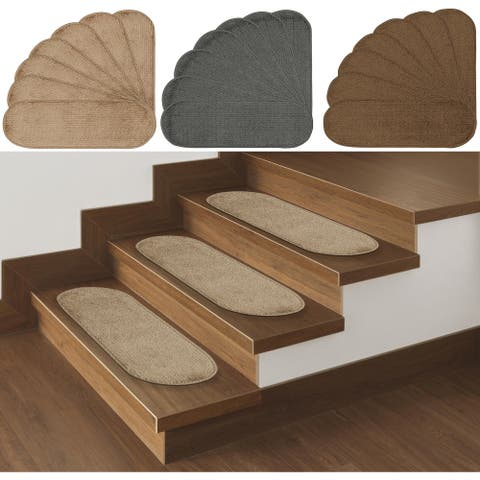 """Softy Solid Design Non-Slip Oval Stair Treads (Set of 14) - 9"""" x 26"""""""