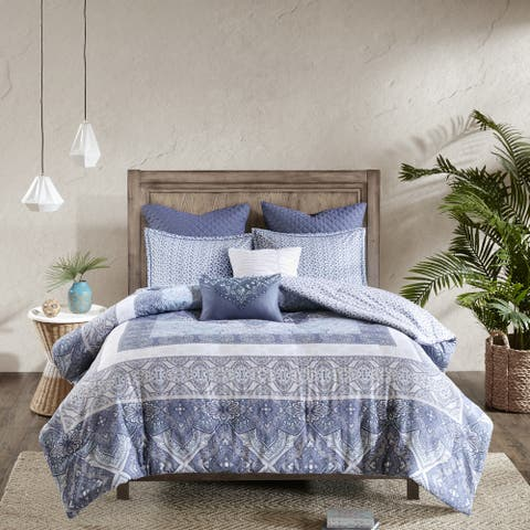 Urban Habitat Aria Blue 7-piece Reversible Cotton Comforter Set
