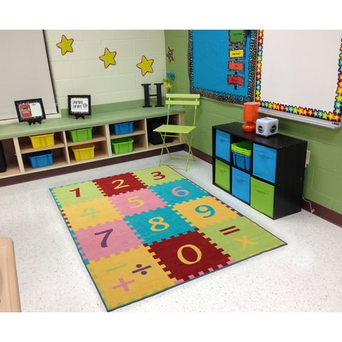 "Ottomanson Multi Color Numbers Math Design Area Rug Kids Rug (8' x 10') - multi-color - 8'2"" x 9'10"""