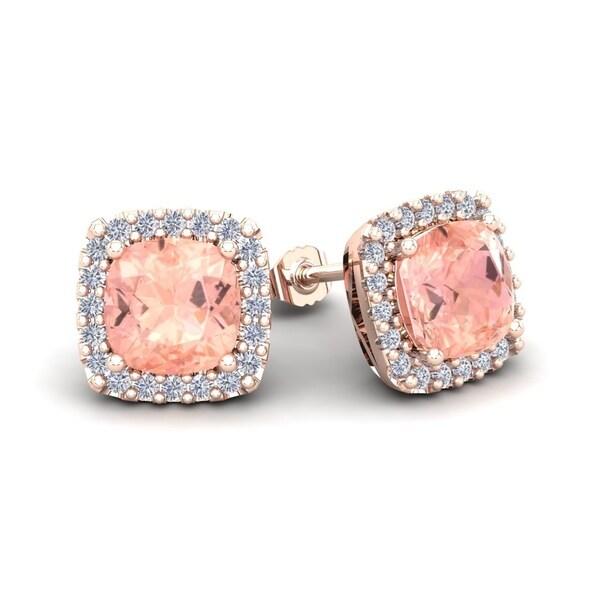 69a53ff974b Shop 6 3/4ct TGW Cushion Cut Morganite and Halo Diamond Stud ...