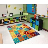 "Ottomanson Multi Color Puzzle Educational Alphabet Design Area Rug Kids Rug (5' x 7') - multi-color - 5' x 6'6"""