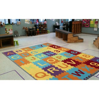 Ottomanson Multi Color Puzzle Educational Alphabet Design Area Rug Kids Rug (8' x 10')