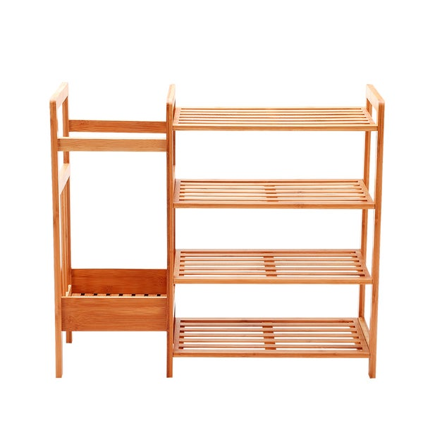NewRidge Home Natural Bamboo 4-Tier Shoe Rack Shoe Tower with Umbrella Stand