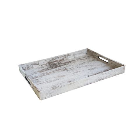 Birch Wood Finish Rectangular Serving Tray