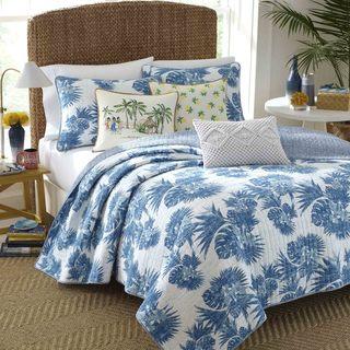 Nine Palms Blue Palm Quilt Set