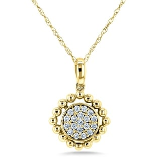 Annello By Kobelli 10k Gold 1 6ct TDW Round Diamond Cluster Flower Necklace