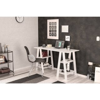Link to Boahaus Modern Computer Desk, White, 2 Bookcases Similar Items in Computer Desks