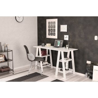 Link to Boahaus Modern Computer Desk, White, 2 Bookcases Similar Items in Student Desks