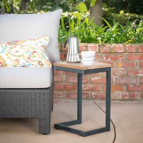 Caspian Outdoor Wood C-shaped Side Table by Christopher Knight Home