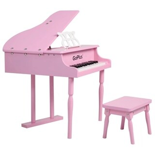 Child 30 key Toy Grand Piano w/Kids Bench Wood Pink Christmas Gift
