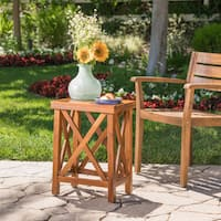 Lily Outdoor Wood Acacia Accent Table by Christopher Knight Home