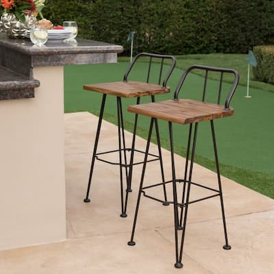 Denali Outdoor Industrial Wood Bar Stool (Set of 2) by Christopher Knight Home