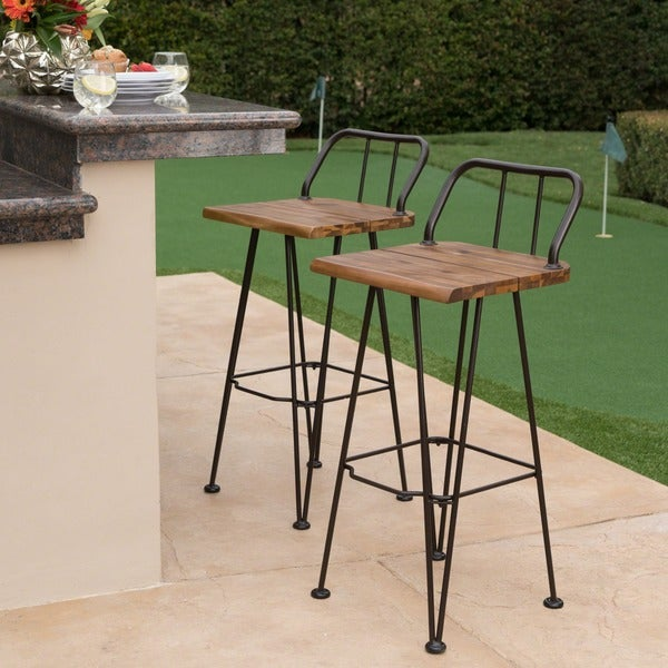 Denali Outdoor Industrial Wood Bar Stool (Set of 2) by Christopher Knight Home. Opens flyout.