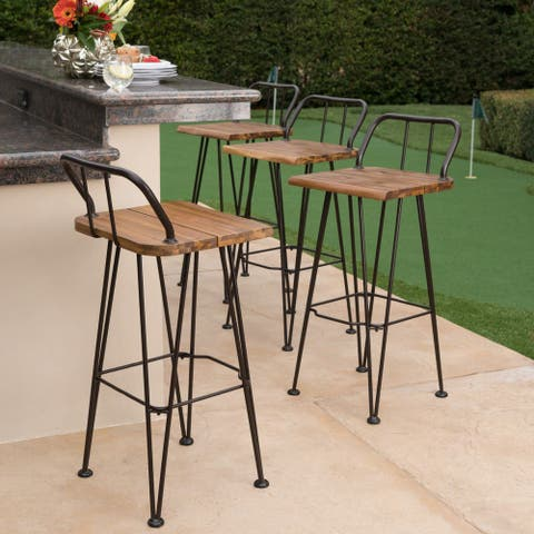 Denali Outdoor Industrial Wood Barstool (Set of 4) by Christopher Knight Home