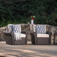 Amaya Outdoor Wicker Club Chair with Cushion (Set of 2) by Christopher Knight Home