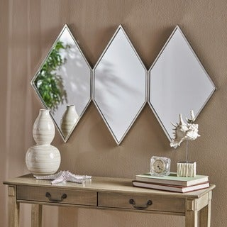 Mariel Triple Diamond Wall Mirror by Christopher Knight Home - Silver
