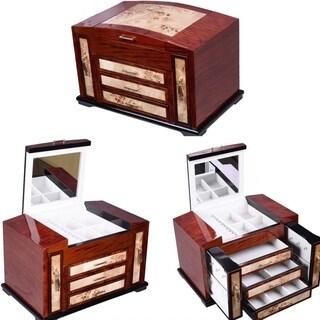 Wooden Jewelry Case 4 Layers W/3Drawer Storage Box Organizer Christmas