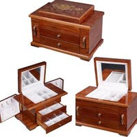 Wooden Jewelry Case 3 Layers Storage Necklace Organizer Display