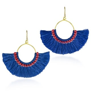 Handmade Bohemian Inspired Shaped Tassels on Brass Dangle Earrings (Thailand)
