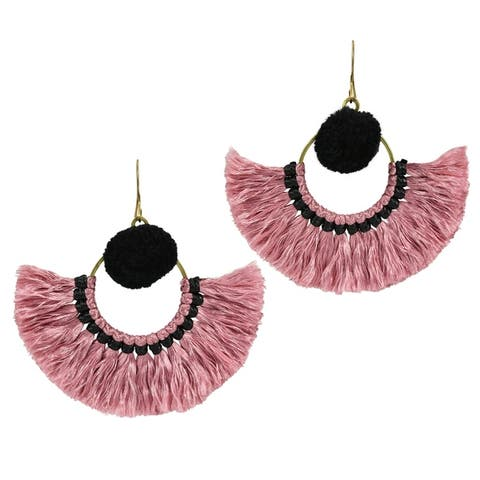 Handmade Stylish Fan Shaped Natural Tassels with Accents Brass Dangle Earrings