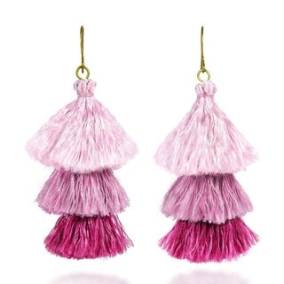 Handmade Amazing Layered Triple Stack Tassels Brass Dangle Earrings (Thailand)