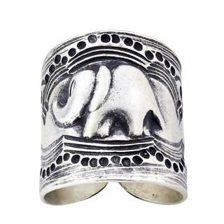 Forest Elephant Karen Hill Tribe Handmade Wrap Around Silver Ring