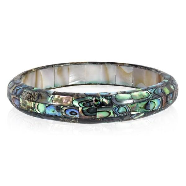 Handmade Exquisite Abalone Shell Mosaic Bangle Bracelet (Thailand). Opens flyout.