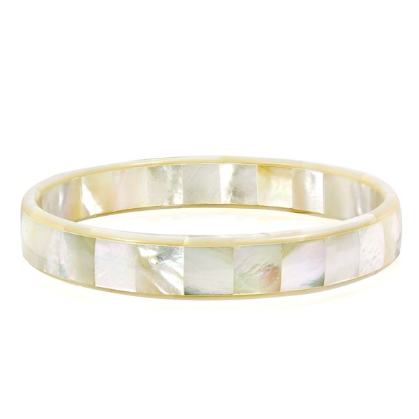 Handmade Tropical White Mother of Pearl Mosaic Bangle Bracelet (Thailand). Opens flyout.